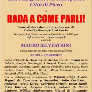 BADA A COME PARLI! 16-17 Dicembre
